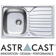 View Item Astracast Cascade 1.0 Compact Bowl Satin Stainless Steel Kitchen Sink &amp; Waste